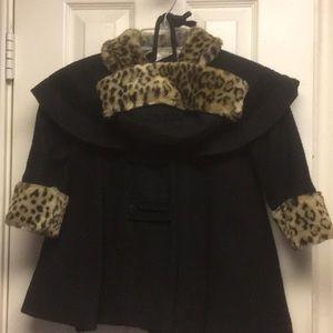 Other - NWT CHILDS blk DRESS COAT/HAT w/leopard trim sz3
